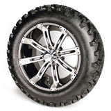 "14"" TEMPEST ALUMINUM BLACK WHEELS 23"" SAHARA ALL TERRAIN TIRES GOLF CART (4)set"