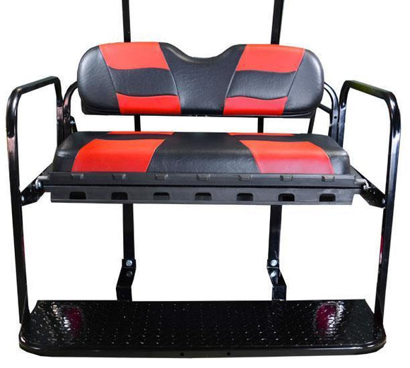 DS REAR FLIP SEAT W/ BLACK/RED 2-TONE SEAT CUSHIONS