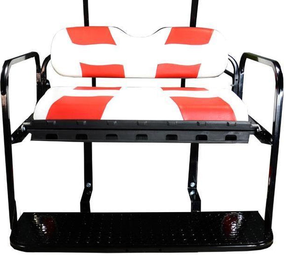 DRIVE REAR FLIP SEAT W/ WHITE/RED 2-TONE SEAT CUSHIONS
