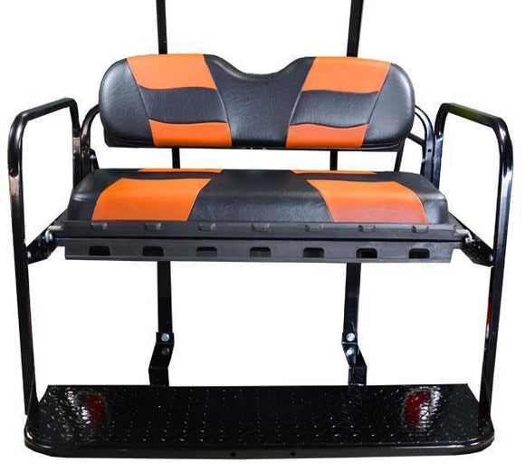 DRIVE REAR FLIP SEAT W/ BLACK/ORANGE 2-TONE SEAT CUSHIONS