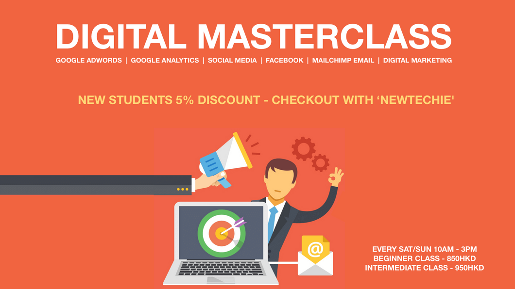 Digital Masterclass - New Students 5% Discount - Checkout with 'NEWTECHIE'