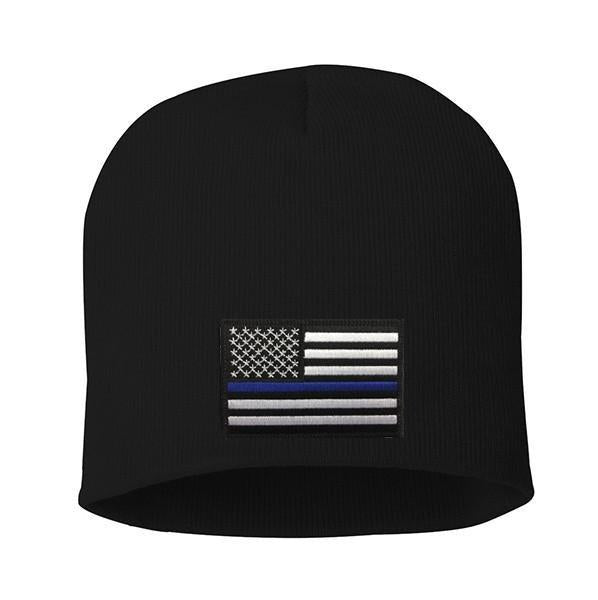 Embroidered Thin Blue Line Flag Knit Cap