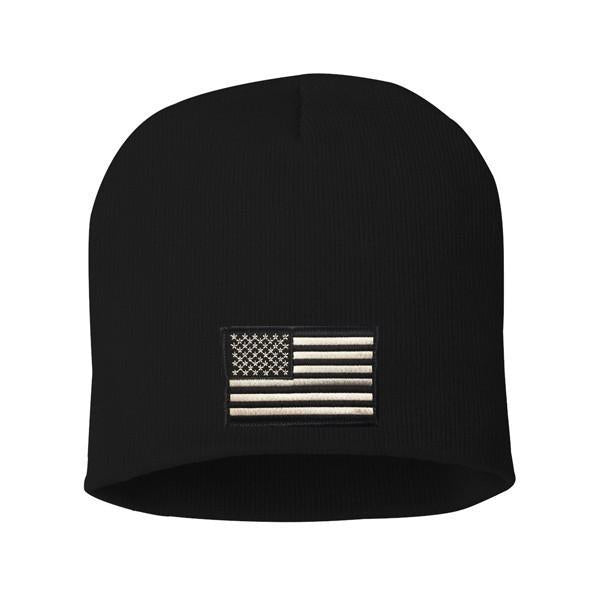Thin Silver Line Flag Knit Cap