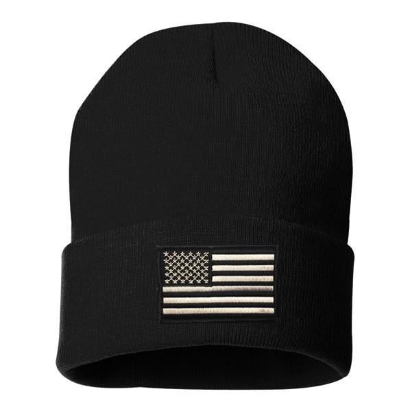 Thin Silver Line Embroidered Beanie