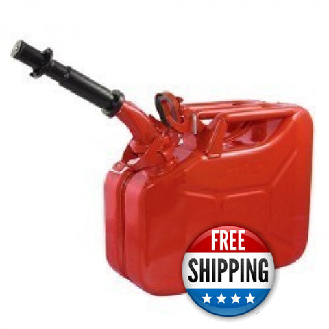 Wavian USA Red 2.6 Gallon Jerry Can System with EPA/CARB Spout and Auto Filler Adapter DOT Approved