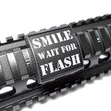 Custom Gun Rails Smile Wait For Flash, Small Laser Engraved Aluminum (LEA) Picatinny Rail Cover