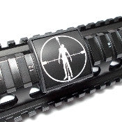Custom Gun Rails Zombie in Crosshairs, Small Laser Engraved Aluminum (LEA) Picatinny Rail Cover