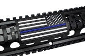 American Flag, Blue Line, (Stars Right) - Large Grip PVC Picatinny Rail Cover