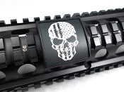 Custom Gun Rails U.S. Flag Skull, Small Laser Engraved Aluminum (LEA) Picatinny Rail Cover