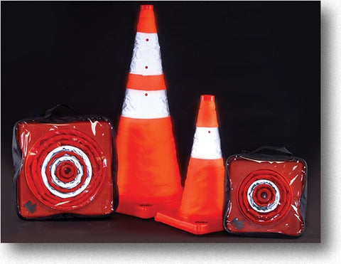 "28"" Orange Collapsible Traffic Cone with LED Light"