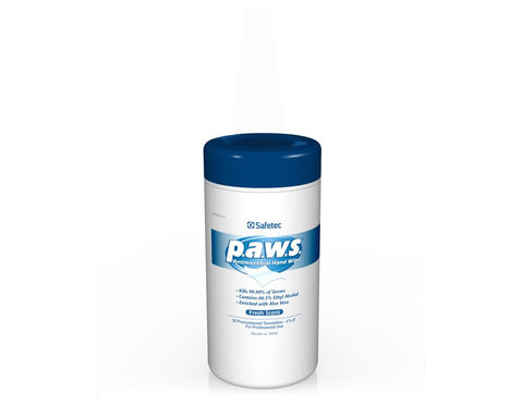 Safetec PAWS Antimicrobial Wipes, 50 Ct. Pullout Canister (Case of 12)