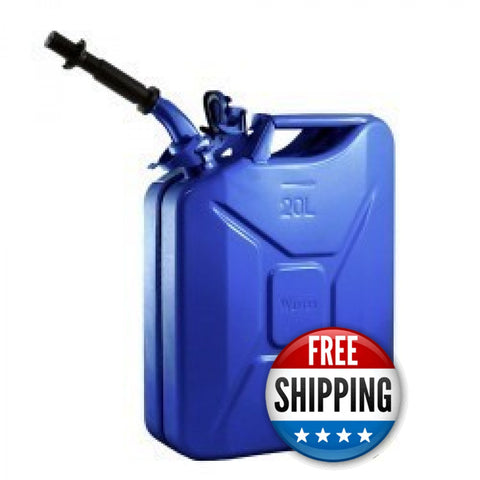 Wavian USA Blue 5.3 Gallon Liter Jerry Can System with EPA/CARB Spout and Auto Filler Adapter DOT Approved