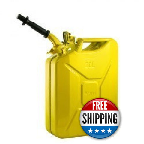 Wavian USA Yellow 5.3 Gallon Liter Jerry Can System with EPA/CARB Spout and Auto Filler Adapter DOT Approved