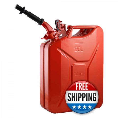 Wavian USA Red 5.3 Gallon Liter Jerry Can System with EPA/CARB Spout and Auto Filler Adapter DOT Approved