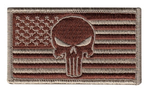 U.S. FLAG with Punisher Skull - Forward - Desert, Hook - 3-1/4 X 1-13/16""
