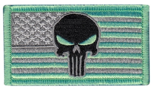 U.S. FLAG with Punisher Skull - Forward - Gry, ,Grn, Gry, Hook - 3-1/4 X 1-13/16""