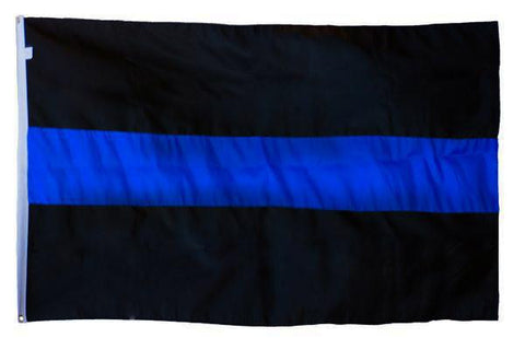 Thin Blue Line Black Background Sewn Flag, DuraSleek™, 3 x 5 Ft