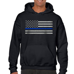 Men's Hoodie – Thin Blue Line American Flag Classic