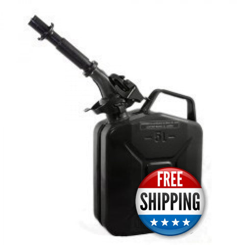Wavian USA 1.3 Black Gallon Jerry Can System with EPA/CARB Spout and Auto Filler Adapter DOT Approved