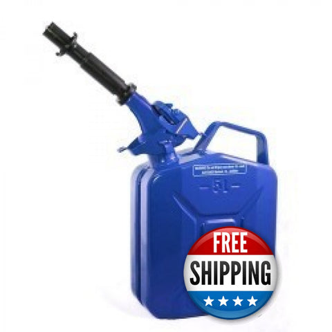 Wavian USA 1.3 Blue Gallon Jerry Can System with EPA/CARB Spout and Auto Filler Adapter DOT Approved