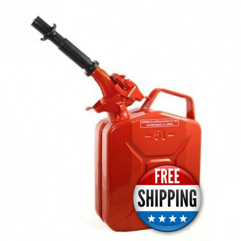 Wavian USA 1.3 Red Gallon Jerry Can System with EPA/CARB Spout and Auto Filler Adapter DOT Approved