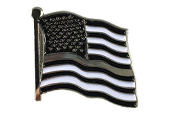Thin Silver Line American Flag Pin