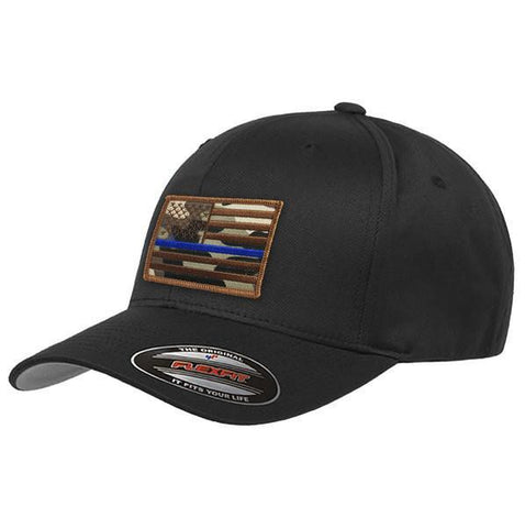 Flexfit Camo Thin Blue Line American Flag Hat