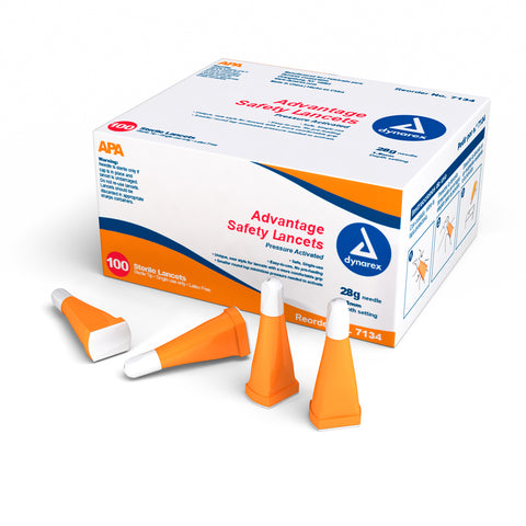 Dynarex Advantage Pressure Activated Safety Lancets Sterile 28 gauge - 1.8 mm Depth