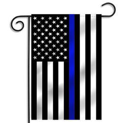Thin Blue Line American Flag, 12 x 18 Inches