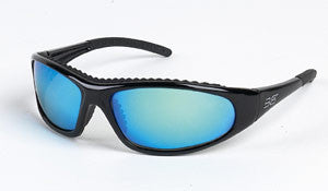 Body Specs BLAZE Polarized Sunglasses, Shiny Black Frame/Blue Mirror Lens