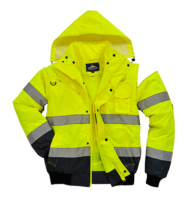 Portwest Hi-Vis Contrast 3 in 1 Bomber Jacket - ANSI/ISEA 107-2015 Type R Class 3