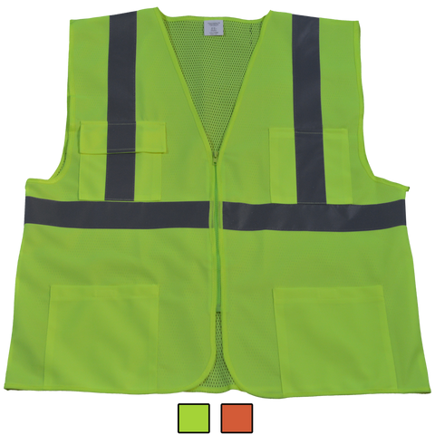 Petra Roc LV2/OV2-FSMB ANSI/ISEA 107-2010 Class II Front Solid Mesh Back 4-Pocket Safety Vests