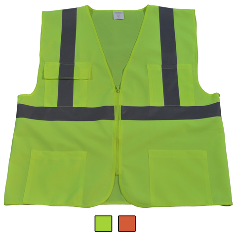 Petra Roc LV24/LVM24/OVM24 ANSI/ISEA 107-2010 Class II 4-Pocket Safety Vests