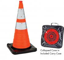 "28"" Orange Collapsible Traffic Cone with LED Light, Rubber Base"