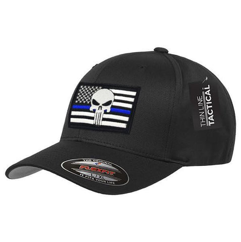 Flexfit Skull Thin Blue Line Hat