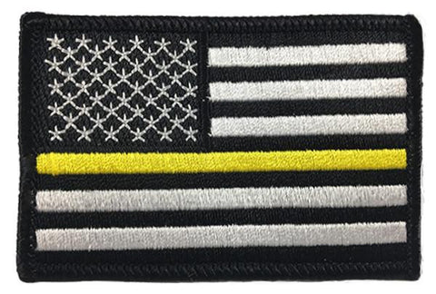 Thin Gold Line American Flag Patch - Sew On