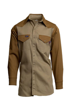 Lapco FR Flame Resistant Two-Tone Western Shirt, 100% Cotton