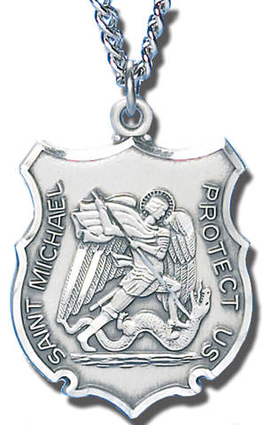 necklace inch medal the michael catholic chain st pewter company
