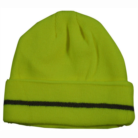 Petra Roc LBE-S1 Lime Safety Beanie Hat with Reflective Stripe