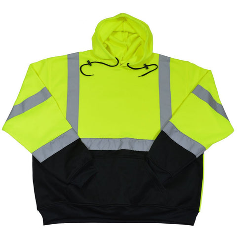 Petra Roc LBPUHSW-C3 ANSI 107-2015 Class 3 Two Tone Lime/Black Bottom Pullover Hooded Sweatshirt