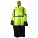 "Petra Roc LBRC-48-C3 ANSI Class 3 Black Bottom Waterproof 48"" Long Rain Coat"