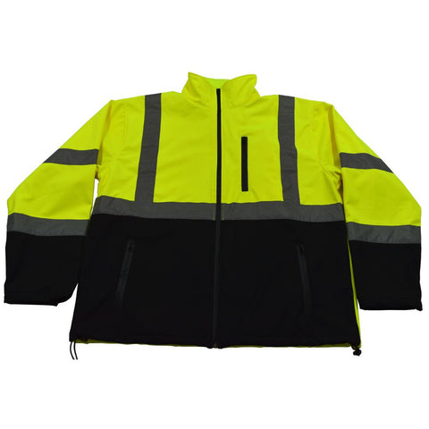 Petra Roc LBSFJ1-C3 ANSI 107-2015 Class 3 Two Tone Lime with Black Bottom Water Resistant Soft Shell Jacket