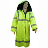 "Petra Roc LRC-48RV-C3 ANSI Class 3 Lime/Black Waterproof Reversible 48"" Long Rain Coat"