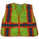Petra Roc LVM2/LV2-PSVP ANSI/ISEA Class 2 Two Tone Expandable 5-Point Breakaway Public Safety Vest with Clear PVC Pocket on Back