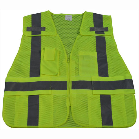 Petra Roc LV2/LVM2-LPSV ANSI/ISEA All Lime Expandable 5-Point Breakaway Public Safety Vest