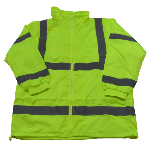 Petra Roc LWB-C3 ANSI Class 3 Lime Green Windbreaker Jacket With Detachable Hood