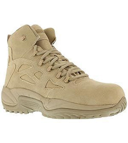 "Reebok RB8694 Men's Rapid Response RB Stealth 6"" Boot with Side Zipper, Composite Toe, Desert Tan"