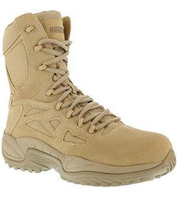 "Reebok RB894 Women's Rapid Response RB Stealth 8"" Boot with Side Zipper, Composite Toe, Desert Sand"