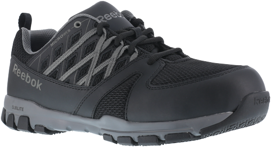 Reebok RB4015 Men's Sublite Work Athletic Oxford, Black Grey