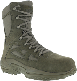 "Reebok RB899 Women's Rapid Response RB Stealth 8"" Boot with Side Zipper, Composite Toe, Sage Green"